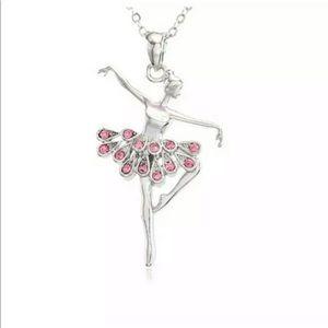 Jewelry - Pink Rhinestone & Silver Ballerina Necklace